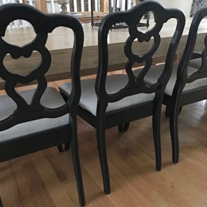 Recovering a Set of Black Dining Chairs With Painters' Drop Cloth